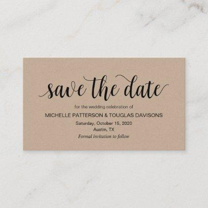 Rustic Kraft, Black Script, Wedding Save the date Enclosure Card