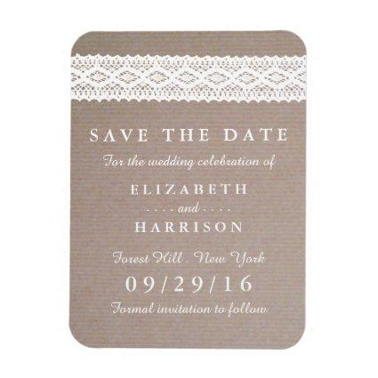 Rustic Kraft & Vintage White Lace Save The Date Magnet