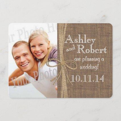 Rustic Lace and Twine Photo Save the Date