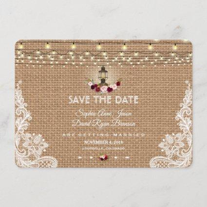 Rustic Lace Burlap String Lights Save The Date