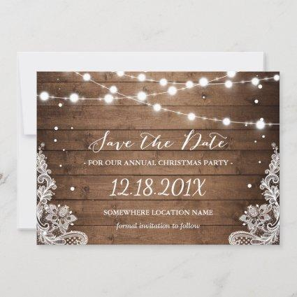 Rustic Lace Christmas Party Save the Date