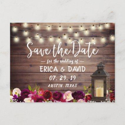Rustic Lantern Burgundy Floral Barn Save the Date Announcement