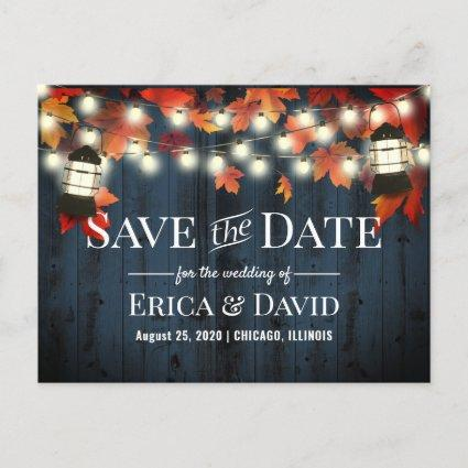 Rustic Lantern Fall Navy Barn Wood Save the Date Announcement