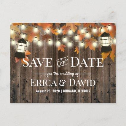 Rustic Lantern Fall Wedding Save the Date Announcement