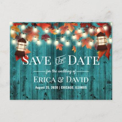 Rustic Lantern Teal Fall Wedding Save the Date Announcement