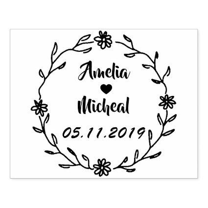 Rustic Laurel Country Wreath Wedding Save the Date Rubber Stamp