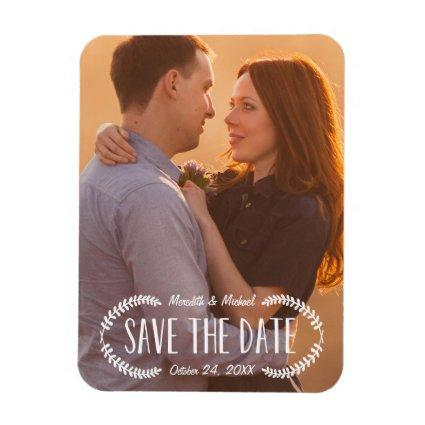 Rustic Laurel | Photo Save the Date Magnet