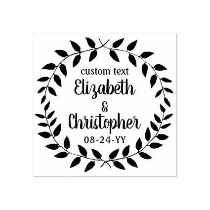 Rustic Laurel Wreath Simple Country Wedding Script Rubber Stamp