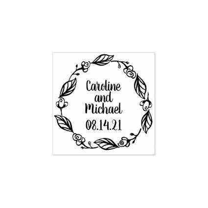 Rustic Laurels and Roses Country Wreath | Wedding Rubber Stamp