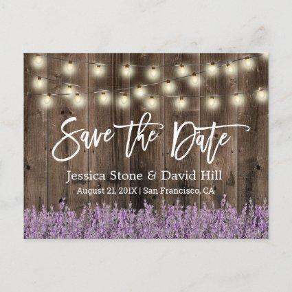 Rustic Lavender Floral Wedding Save the Date Announcement