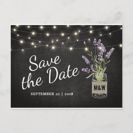 Rustic Lavender Mason Jar Lights Save the Date Announcements