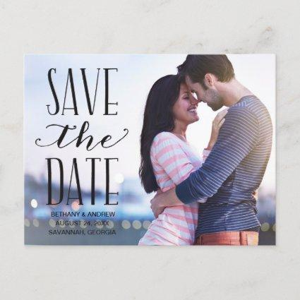 Rustic Lettering Overlay Photo Save the Date Announcement
