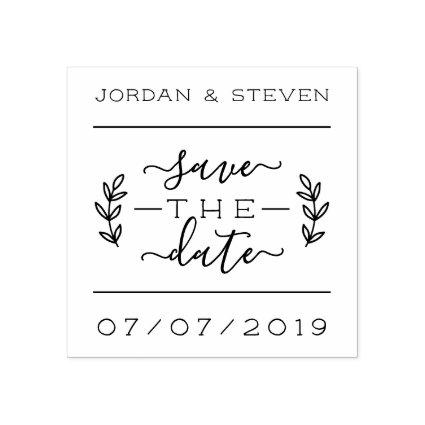 Rustic Lettering & Script Save The Date Wedding Rubber Stamp