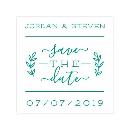 Rustic Lettering & Script Save The Date Wedding Self-inking Stamp