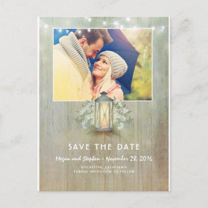 Rustic Light - Iron Lantern Photo Save The Date Announcement
