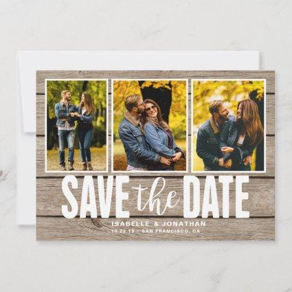 Rustic Light Wood Photo Collage Save The Date