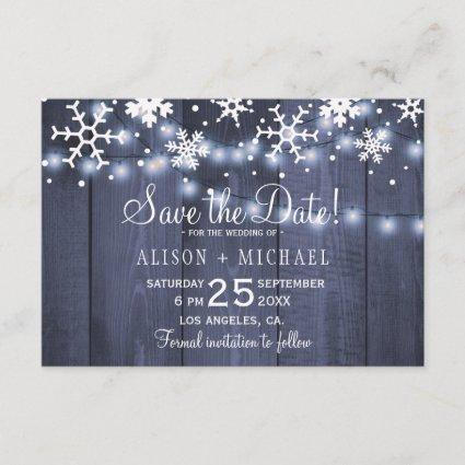 Rustic lights snowflakes winter wedding save date save the date