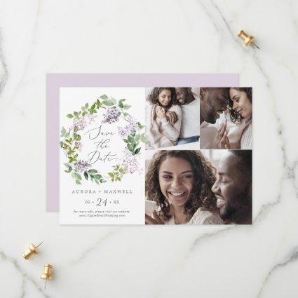 Rustic Lilac 3 Photo Collage Save The Date