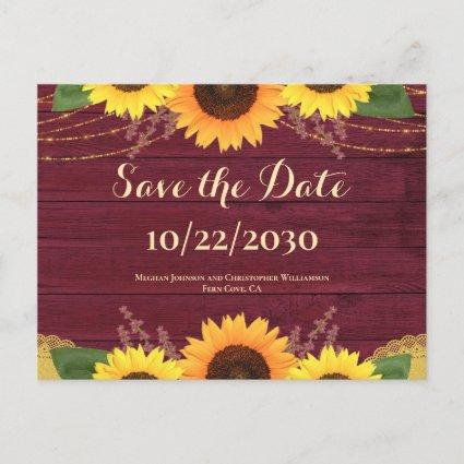 Rustic Maroon Wood Sunflower Wedding Save the Date Announcement