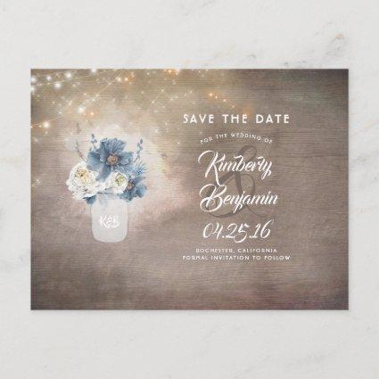 Rustic Mason Dusty Blue Floral Save the Date Announcement