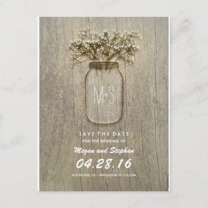 rustic mason jar and baby's breath save the date announcement