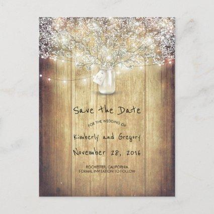 Rustic Mason Jar Baby's Breath Barn Save the Date Announcement