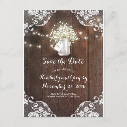 Rustic Mason Jar Baby's Breath Wood Save the Date Announcement