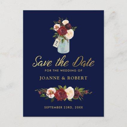 Rustic Mason Jar Burgundy Navy Gold Save the Date Announcement