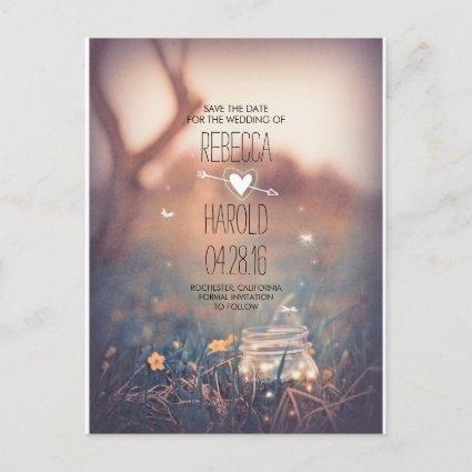 Rustic Mason Jar Fireflies Nature Save the Date Announcement