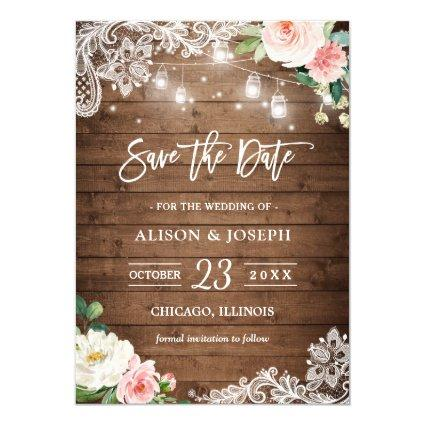 Rustic Mason Jar Lights Floral Lace Save the Date Invitation