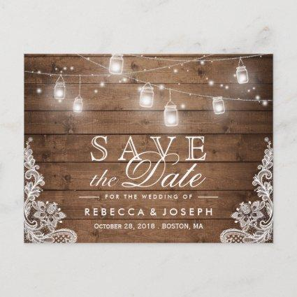 Rustic Mason Jar Lights Lace Wedding Save the Date Announcements Cards