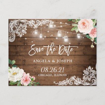 Rustic Mason Jar Lights Lace Wedding Save the Date Invitation