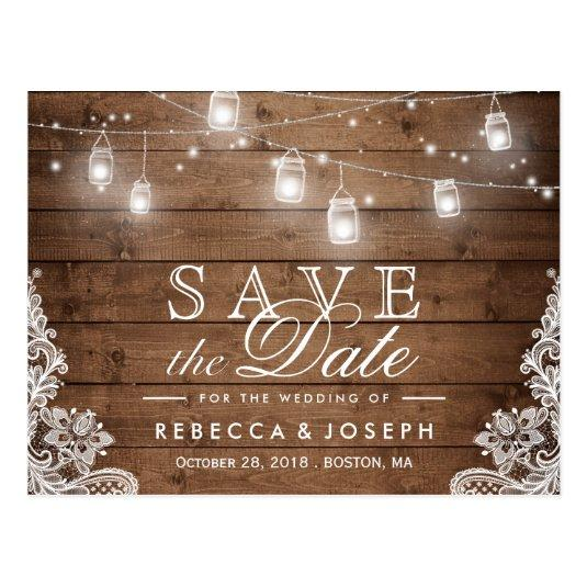 Rustic Mason Jar Lights Lace Wedding Save the Date Cards