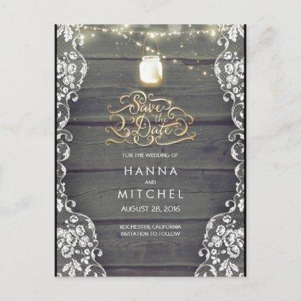 Rustic Mason Jar Lights Wood  Lace Save the Date Announcement