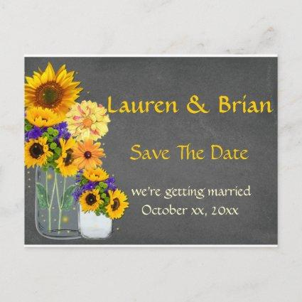 Rustic Mason Jar Sunflowers Save The Date Announcement