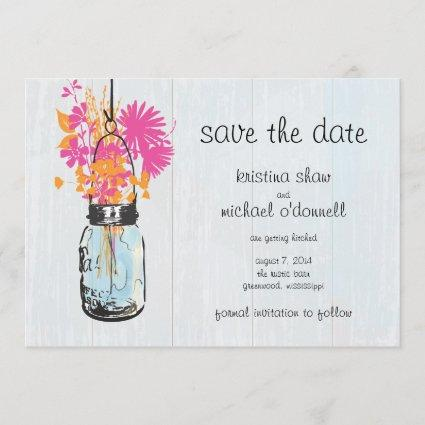 Rustic Mason Jar & Wildflowers Save the Date