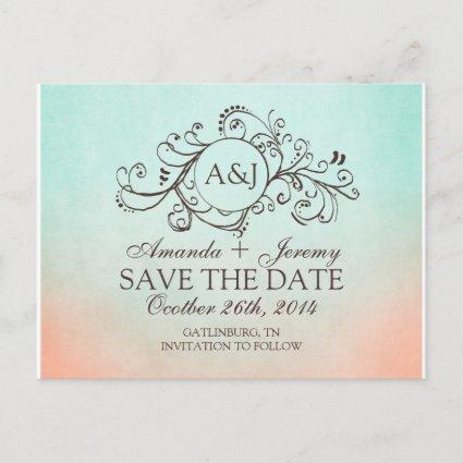 Rustic Mint and Peach Bohemian Save The Date Announcement