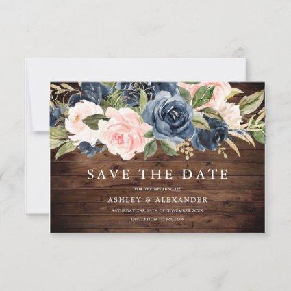 Rustic Modern Navy & Blush All Seasons Wedding Save The Date