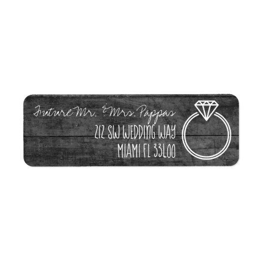 Rustic Monochrome Engagement / Save the Date Chalk Label