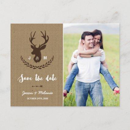 Rustic Monogram | Stag Photo Save the Date Announcements
