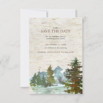 Rustic Mountain Forest Christmas Save the Date