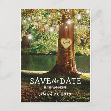 Rustic Mountain Lake Twinkle Lights Save the Date Announcement