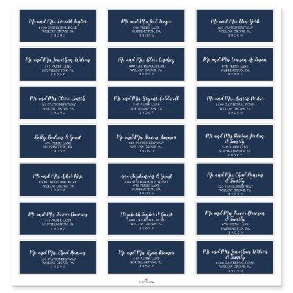 Rustic Navy and White Wedding Guest Address Labels