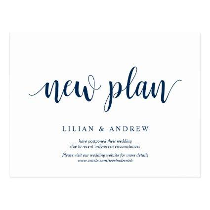 Rustic Navy Blue, new plans, wed postponed