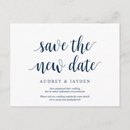 Rustic Navy Blue, Save the new date, wed postponed