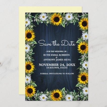 Rustic Navy Blue Sunflower|Daisy Save the Date Invitation