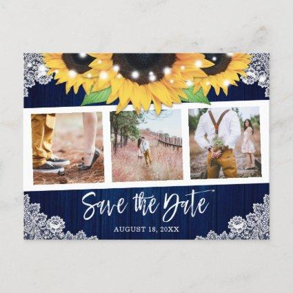 Rustic Navy Blue Sunflower Photo Save The Date Announcement
