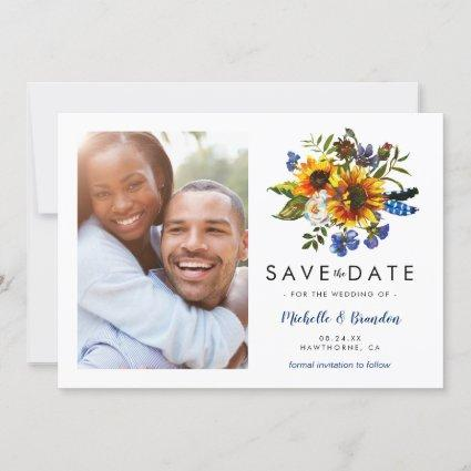 Rustic Navy Blue Sunflower Save the Date Photo
