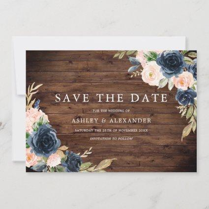 Rustic Navy Blush Floral Wedding Save The Date