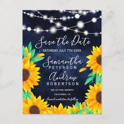 Rustic navy string lights sunflowers save the date announcement